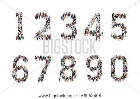 vector stylized flat-design business and casual people forming different numbers