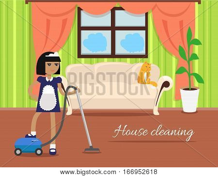 House cleaning banner. Girl with hoover in uniform make cleaning in house. Cleaning service, house cleaning service, housework, home cleaning, domestic cleaning service, clean room illustration
