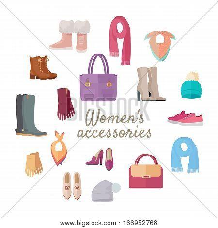 Women s accessories isolated on white. Vector set with hand drawn colored object on theme of fashion. Fashionable clothes for woman. Sketches for use in design. Bags, shoes, hats and scarves. Vector