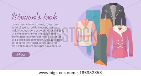 Womens look vector concept. Flat design. Set of casual womens clothing warm season. Pants, jacket, blouse, skirt, cloak illustrations. For stores ad, fashion concepts