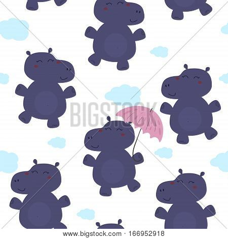 Cute hippo with an umbrella in cartoon style. pattern