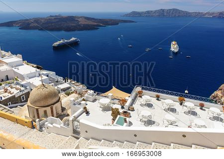 Luxury decks and patios of Fira, Santorini, Greece