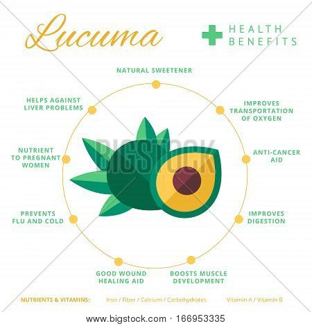 Lucuma Fruit Health Benefits And Nutrition Infographics. Superfood Lucmo Berry Nutrients And Vitamin