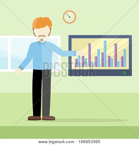 Business lecture concept vector. Flat design. Man holding seminar near monitor with infographics. Certification training in office. Illustration for educational companies, career courses ad.
