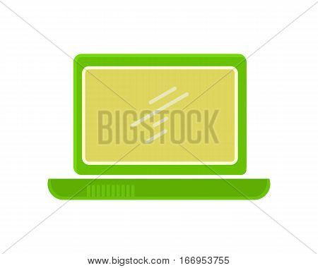 Green laptop flat icon. Laptop flat icon with blank screen. Laptop in front. Concept of IT communication, e-learning, internet network. Isolated object on white background. Vector illustration.