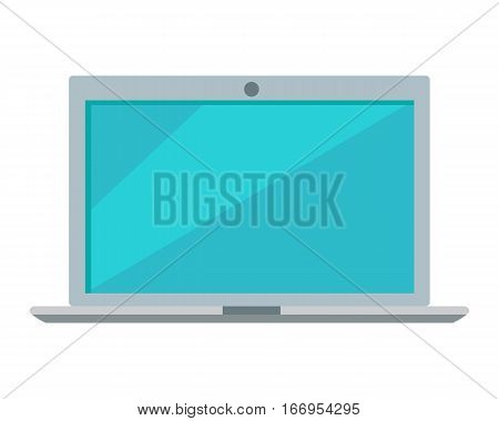 Laptop icon button isolated on white. Laptop computer symbol. PC icon in trendy flat style. Computer symbol for your web site design, logo, app. Modern computer equipment silhouette. Vector