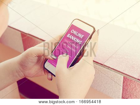 Woman Hands Using Online Banking On Touch Screen With Smartphone.