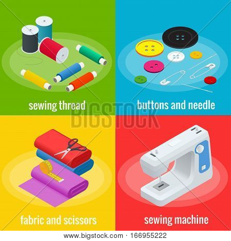 Color banners of objects for sewing, handicraft. Sewing tools and sewing kit, sewing equipment, needle, sewing machine, sewing pin, yarn. Sew vector set