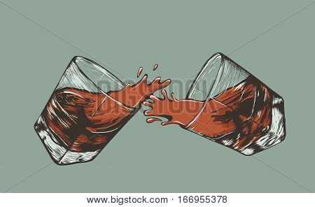 Two hand drawn glasses of beverage vector illustration. Advertising of alcohol drink