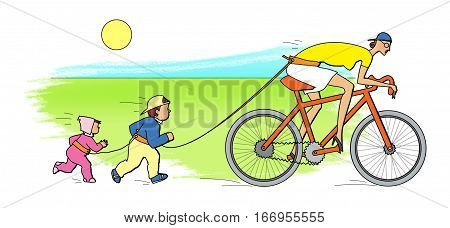 Two children run for a babysitter riding a bicycle. On a white background