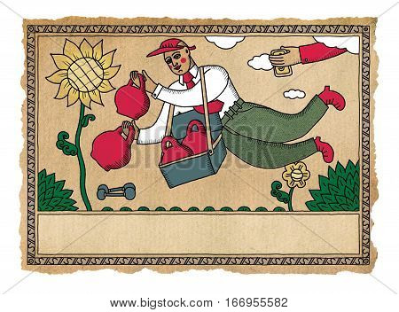 Peddler in fitness flies over a field of sunflowers offering dumbbells and weights for sale. In the style of Russian folk