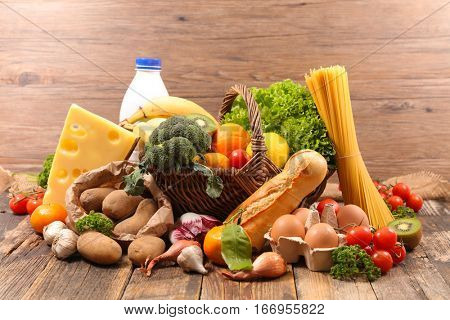 composition with fruit,vegetable,dairy,bread