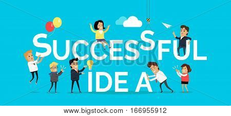 Successful idea concept. Team of creative people working on construction from words vector illustration on blue background. For brain storm, scientist work, business planning process illustrating