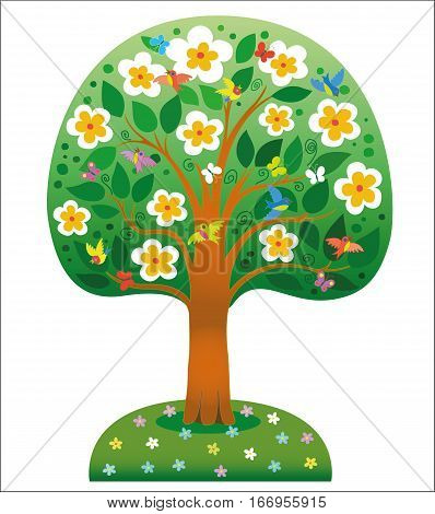 Beautiful blossoming tree isolated on white background in PNG format