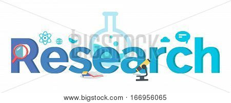 Research vector banner. Flat design. Team brain storm, scientist work concept for business planning, scientific Infographics, creative process, market research illustrating. Chemistry and physics.