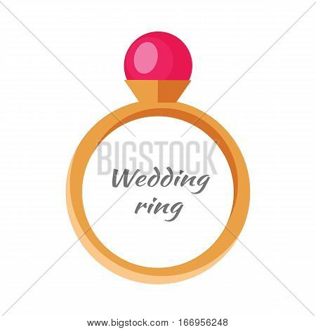 Beautiful wedding ring with red gemstone. Engagement ring with red gem. Ring icon in flat. Beautiful red ruby. Precious ring with red gem. Isolated vector illustration on white background.