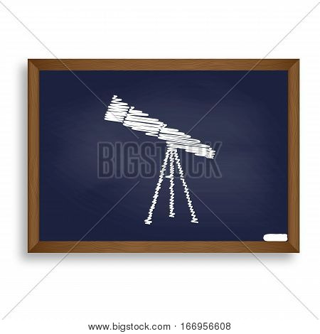 Telescope Simple Sign. White Chalk Icon On Blue School Board Wit