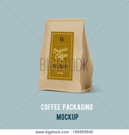 Brown Paper Food Bag Package Of Coffee. Vector mockup Template. Vector packaging design