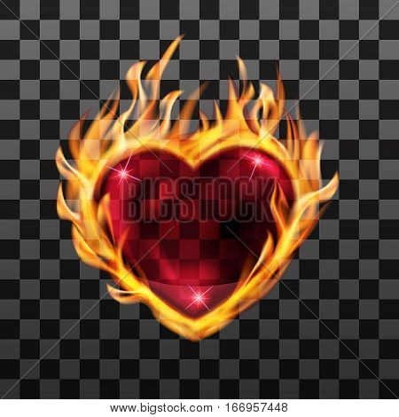 vector illustration. Red burning transparent heart with fire on a black background. Designs for banners, cards, invitations for Valentine's day, medical cardiograms.