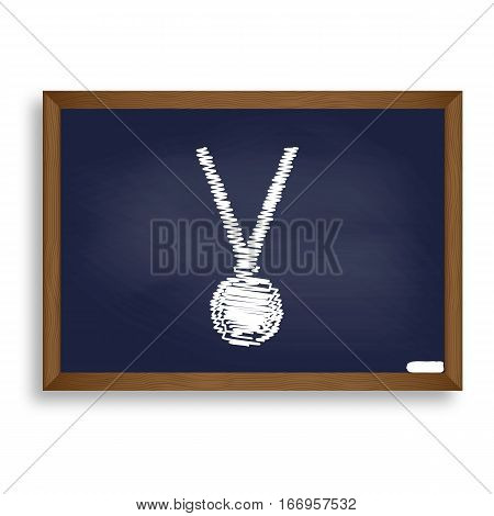 Medal Simple Sign. White Chalk Icon On Blue School Board With Sh