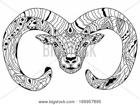Line art hand drawing black ram isolated on white background. Doodle style. Tatoo. Zenart. Zentangle.Coloring for adults. Vector illustration.