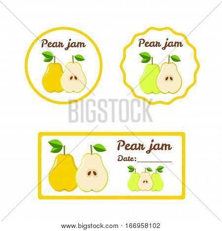 Pear Jam - colorful labels set. Vector illistration