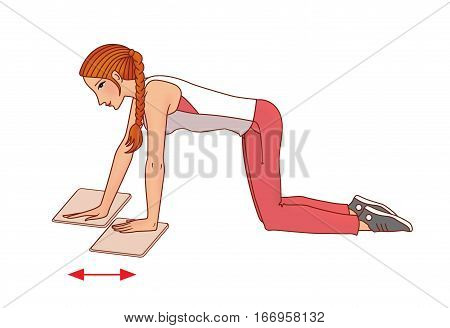 Girl with pigtail performs exercises with a towel on the slippery domiciliary floor strengthening the muscles of the shoulder girdle on a white background poster