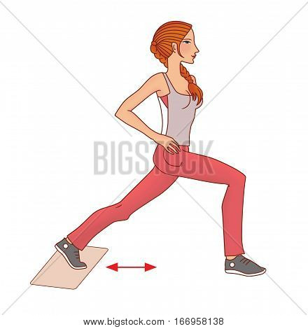 Girl with pigtail performs exercise with a towel on the slippery domiciliary floor to strengthen the gluteal muscles on a white background