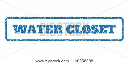 Blue rubber seal stamp with Water Closet text. Glyph caption inside rounded rectangular banner. Grunge design and dust texture for watermark labels. Horizontal emblem on a white background.