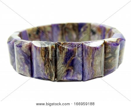 charoite gemstone bracelet isolated on white background