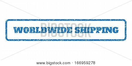 Blue rubber seal stamp with Worldwide Shipping text. Glyph tag inside rounded rectangular frame. Grunge design and scratched texture for watermark labels. Horizontal sign on a white background.