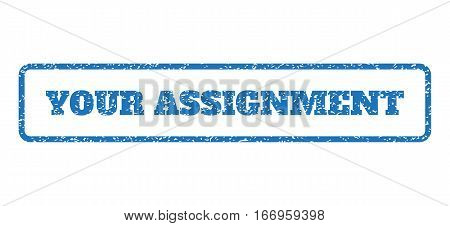 Blue rubber seal stamp with Your Assignment text. Glyph tag inside rounded rectangular banner. Grunge design and dust texture for watermark labels. Horizontal sign on a white background.