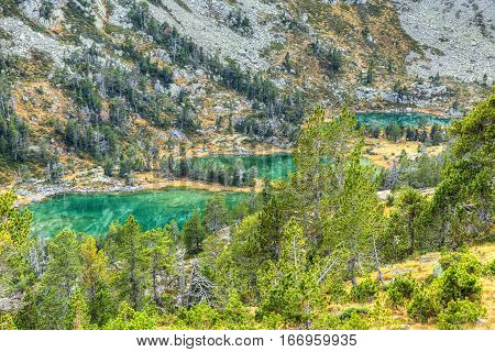 Beautiful high altitude lakes (les Laquettes) located in Pyrenees Mountains in Neouvielle Massif.