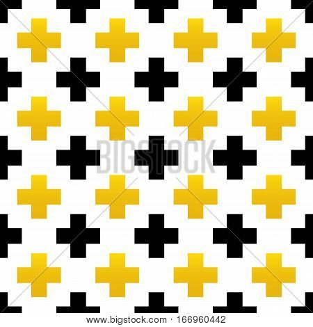 Black and gold crosses, plus signs, geometric seamless pattern background.