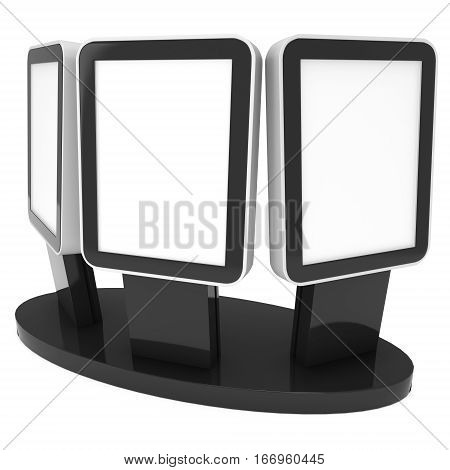 LCD Screen Stand. Black Trade Show Booth. 3d render of lcd tv isolated on white background. High Resolution. Ad template for your expo design.