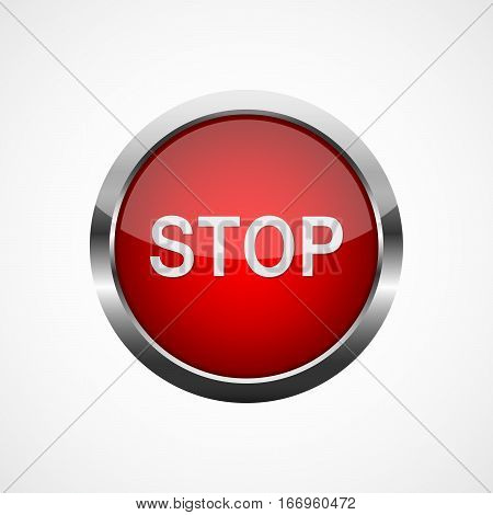 Red metallic stop button. Vector illustration. Stop button on white background