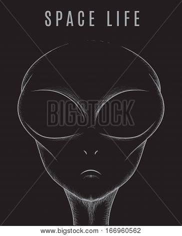 Head of space alien isolated black background.Vector illustration