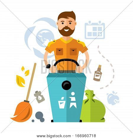 Happy Male Worker Walking With Dustbin. Isolated on a white background