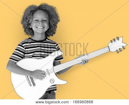 Studio People Kid Shoot Childhood Music Guitar Paper craft