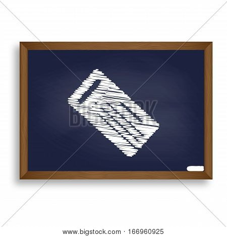 Ticket Simple Sign. White Chalk Icon On Blue School Board With S