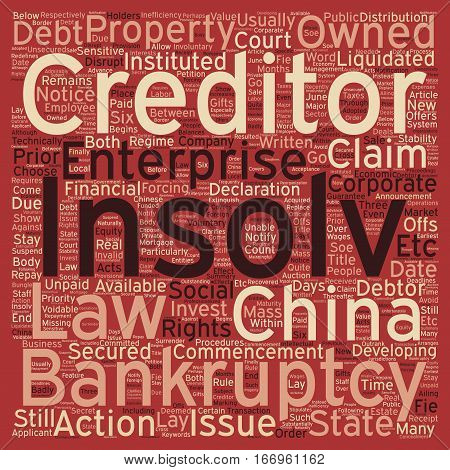 Insolvency And Corparate Bankruptcy In China text background wordcloud concept