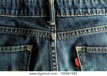 Detail of a pair of blue jeans