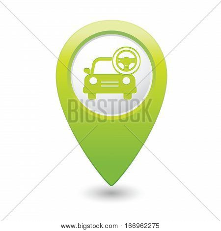 Car service. Car with steering wheel icon on green map pointer. Vector illustration