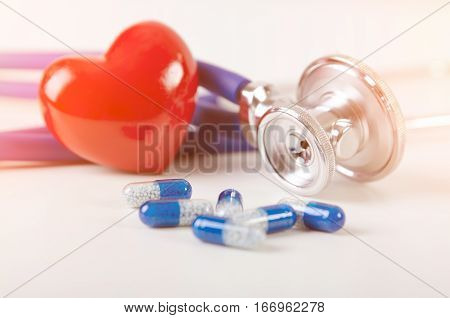 Health Care With Heart And Stethoscope Composition