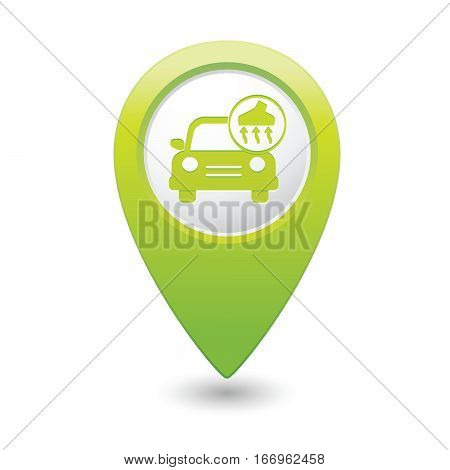 Car service. Car with vacuum cleaner icon on green map pointer. Vector illustration