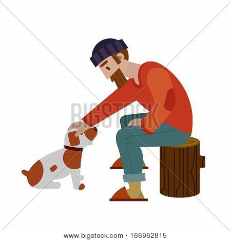 Hunters isolated on white background. Young hunter with big beard storking his small brown an white dog. Best friends. Vector illustration art.