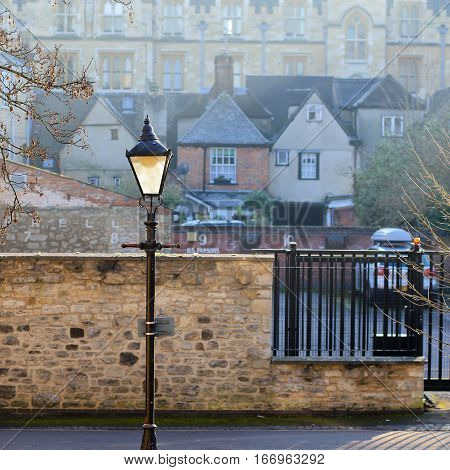 Jowett Walk Oxford United Kingdom January 22 2017: Victorian style street light on Jowett Walk in a quiet area of Oxford England