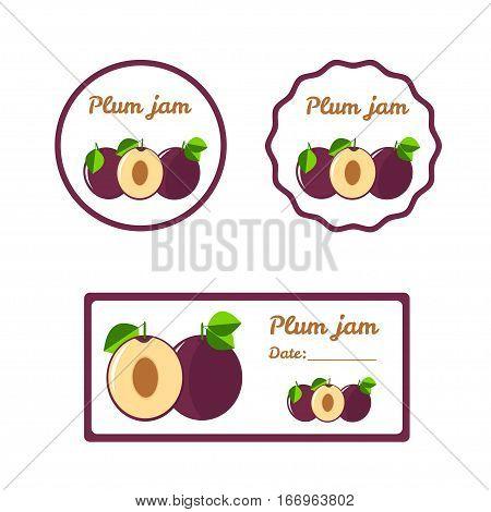 Plum jam - colorful label set. Vector illistration