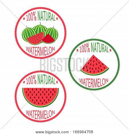 Watermelon labels set - 100% Natural. Vector illistration