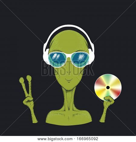 Alien music fun hand drawn vector illustration. Humanoid in headphone and sunglasses hold cd in hand